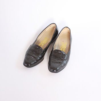 Vintage 80s FERRAGAMO Shoes / 1980s Black Patent Faux CROC Embossed Loafers 6 B