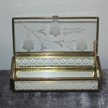 Via Vermont etched flower lace glass jewelry box, jewelry storage, jewelry holder, gifts for her, vanity