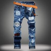 Ripped Holes Slim Pants Jeans [10366810051]