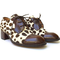 DONNA MAY BOLINGER!!! Vintage 1990s 'Donna May Bolinger' leather and pony hair, lace-up leather shoes with Dalmatian print / Size 6 1/2