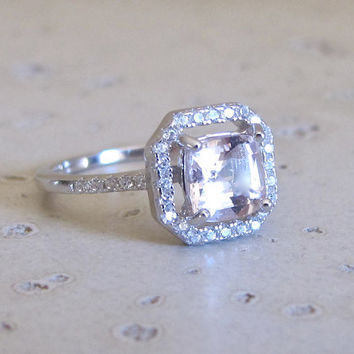 Square Morganite Ring- Engagement Ring- Bridal Ring- Promise Ring for Her- Anniversary Ring- Wedding Ring- Gemstone Ring- Halo Morganite