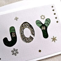 handmade iris fold Christmas card - joy