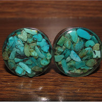 Turquoise Stone Plugs -  7/16, 1/2 Inch