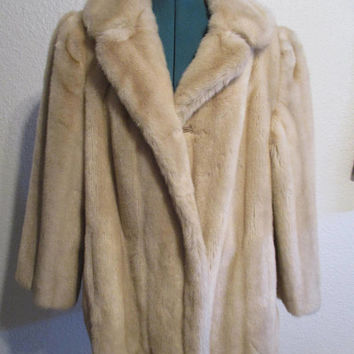 Vintage Faux Fur Coat Tissavel Jacket Faux Mink Fur