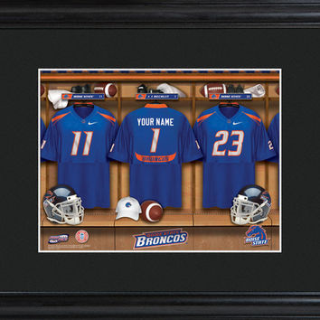 Personalized College Locker Room Sign w/Matted Frame - Boise State