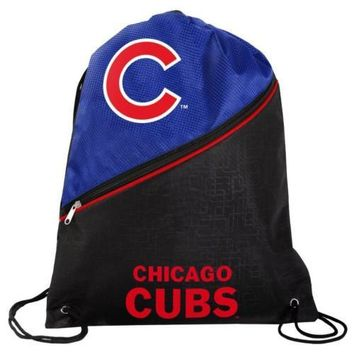 * Chicago Cubs High End Zippered Drawstring Backpack School Gym Bag