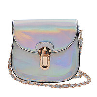 Silver Iridescent Crossbody Bag