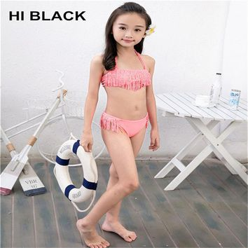 2018 New High-End Nylon Rhinestone Girls Swimsuit Children's Swimsuit Tassel Bikini Beach Swimsuit Swim