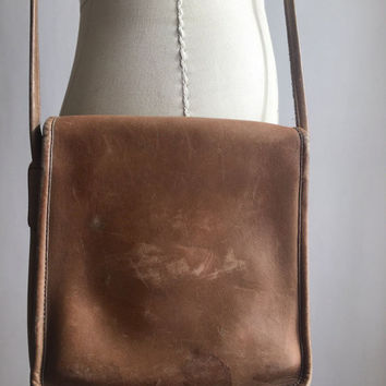 70s coach bag | chestnut leather crossbody purse | Made in NYC