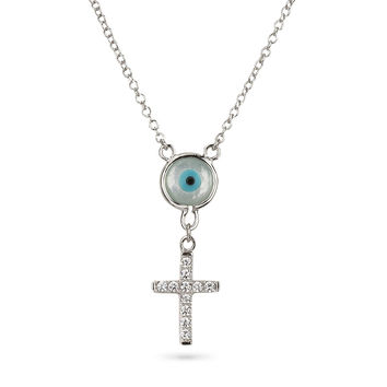 Cross and Evil Eye Mother of Pearl Double Pendant Silver 925