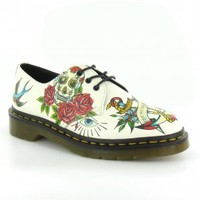 Dr Martens Applique Marcel Womens Leather Tattoo Print 3-Eyelet Shoes in Winter White at Scorpio Shoes
