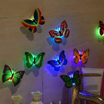 10 Pcs Wall Stickers Butterfly LED Lights Wall Stickers 3D House Decoration U61209