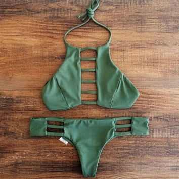 Army Green Hollow Out Swimsuit swimwear Set Gift-116