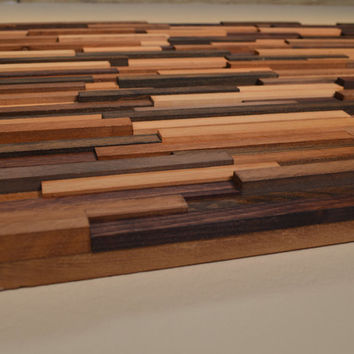 Decorative Wood Strip 2' x 3' Wall Hanging by KingWoodworks on Zibbet
