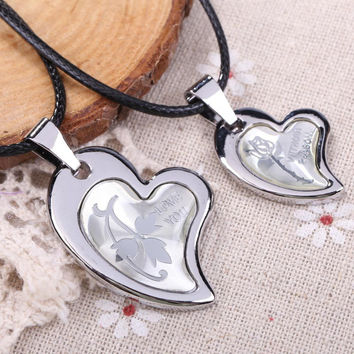 Pair of Couple Lovely Hearts Pendant Man Woman Necklace Jewelry Gift for Valentines day  SN9