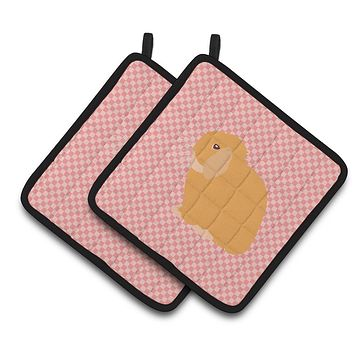 Holland Lop Rabbit Pink Check Pair of Pot Holders BB7968PTHD