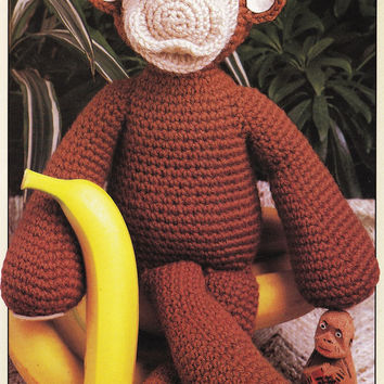 Childrens monkey toy knit stuffed animal toddlers PDF Instant Download stuffed animal pdf baby knitting supplies epsteam crochet pattern