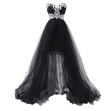 Elegant Strapless Appliques Corset Front Short Black High Low Lace Long Prom Dresses 2017 Party Evening Dress Designer 6191