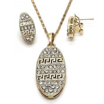 Gold Layered 10.306.0010 Earring and Pendant Adult Set, Greek Key Design, with White Crystal, Polished Finish, Golden Tone