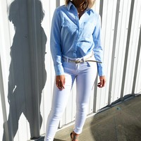 Never Out Of Line Blouse: Baby Blue/White
