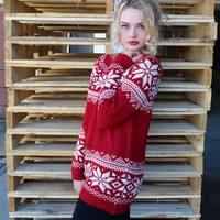 Ice Crystal Red Snowflake Sweater