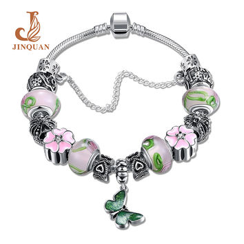JINQUAN Magnet buckle Enamel process butterfly Glass high quality Silvering Bracelets & Bangles For Women Wedding DIY Jewelry