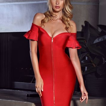 Quincy Off Shoulder Flared Sleeve Front Zip Bandage Dress