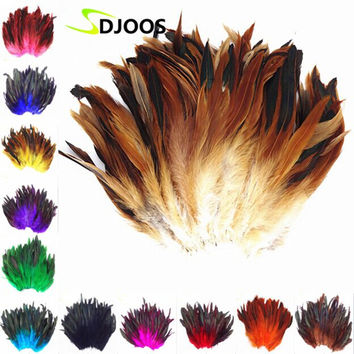 200 PCS Natural Colourful Rooster Feathers Bulk Fly Tying Feathers Christmas Decorations For Home Wedding New Year Cosplay Sale