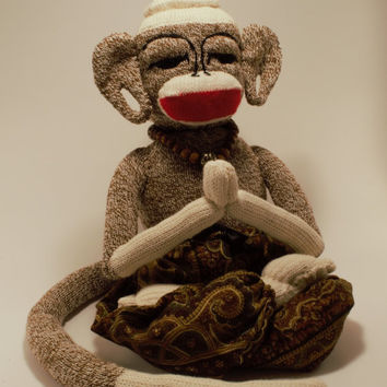 Collectible *Meditation/Prayer* BUDDHA Plush Figurine OOAK Handmade Meditating *Sock Monkey* Doll