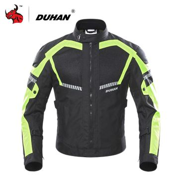 DUHAN Motorcycle Jacket Summer Moto Jacket Men Motobike Protective Gear Breathable Mesh Reflective Motorcycle Clothing