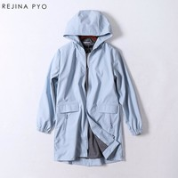 Rejina Pyo windproof rain-proof female PU Solid Pockets Hooded Trench classic slim long fashion women coat trench autumn