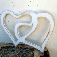 2 LOVE Heart Sign Wooden wedding decor Destressed Wall Art Beach Coastal Sign Outdoor And Indoor Beach Decor