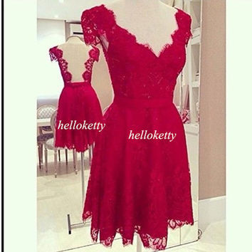 Red Lace Party Dresses,Bridesmaid Dresses,Summer Dresses,Evening Dresses,Short Prom Dresses,Maxi Dresses,Formal Dresses,Fancy Dresses,GK076