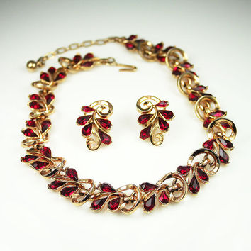 Vintage Trifari Necklace Earrings Red Rhinestone Cocktail Party Jewelry