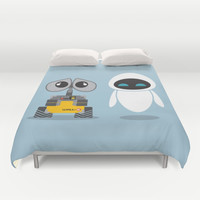 Wall-E and Eve Duvet Cover by Steph Dillon