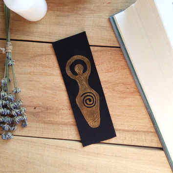 Luna goddess bookmark, leather bookmark, Mythic bookmark, Wiccan bookmark, Magic bookmark