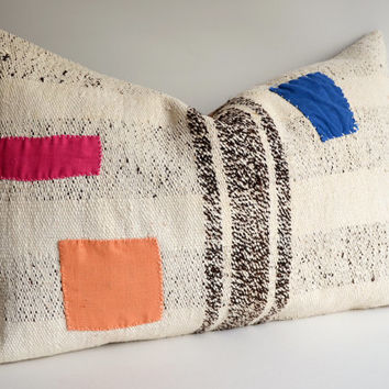 Sukan / Handwoven Vintage Kilim Pillow Covers Bolster Pillow Cover Lumbar Pillow Cover Euro Sham
