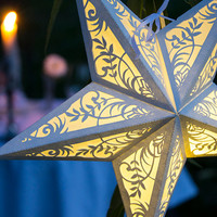 Handmade Paper Star Lantern with Floral Cutout - special occasion lighting, party decoration, luminary, nursery, wedding, reception, holiday