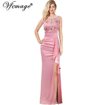 Vfemage Womens Embroidery Ruched Ruffles High Slit Formal Evening Wedding Party Mother of Bride Special Occasion Maxi Dress 290
