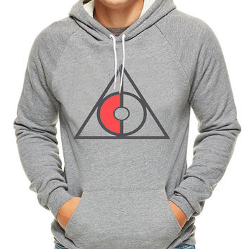 Deathly Hallows Symbol Pokemon style, hoodie for men, hoodie for women, cotton hoodie on Size S-3XL heppy hoodied.