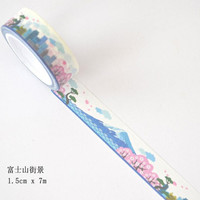 JI218 1.5cm Wide Scenery of Mount Fuji Decorative Washi Tape DIY Scrapbooking Masking Tape School Office Supply