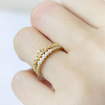 Princess Tiara Ring in gold / adjustable ring