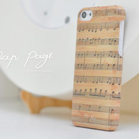 Apple iphone case for iphone iphone 5 iphone 5s iphone 5c iphone 4 iphone 4s iPhone 3Gs : Music note on vintage wood