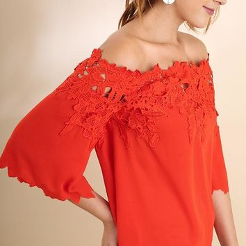 Lace Applique Off Shoulder Top - Tomato Red