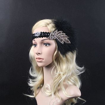 Exaggerated Sequin Feather Flapper Headband Hair Jewelry Great Gatsby Headdress