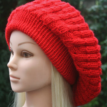 8e401477577 Red Beret Knit Beret Knit hat Women s hat Winter hat Red hat Beanie hat  Slouchy hat