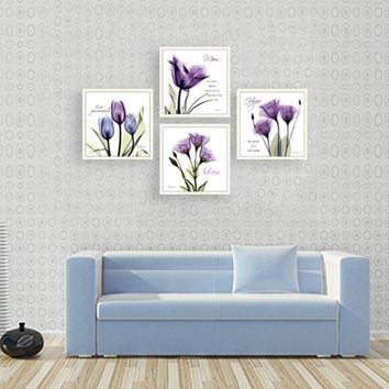 4Pcs/Sets Modern Giclee Prints Artwork  Believe Purple Flowers Pictures Photo Paintings Print on Canvas Wall Art for livingroom