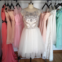 Ivory Beaded Tulle Prom Dress, Short V-back Prom Dresses, Cheap Formal Dress Homecoming Dress Cocktail Dress 2015