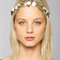 Suede Floral Crown Tie-Back Headwrap - White One