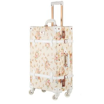 "Women Floral Luggage Pu Leather Suitcase Vintage Luggage On Wheels (22"")"
